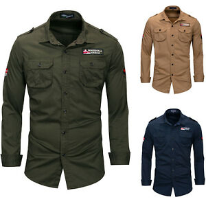 Army-Shirt-Men-039-s-Long-Sleeve-Military-Luxury-Casual-Button-Front-Shirts-6474