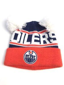 quality design cd45b c886c Image is loading Edmonton-Oilers-NHL-Youth-Kids-Pom-Knit-Winter-