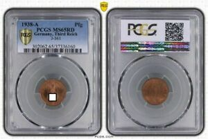 1 Pfennig 1938 A J.361 Fresh Mint Condition PCGS MS65RD (36695)
