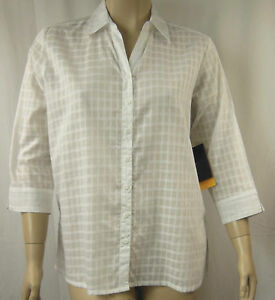 Extra-Pepper-White-Self-Check-Cotton-3-4-Sleeve-Shirt-Top-Plus-Size-26-BNWT-P18