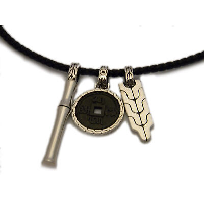 John Hardy 26 inch 3 Bamboo Silver Pendants on Black Leather Necklace NWT