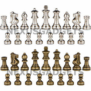 Ozark-Chess-Pieces-2-5-In-King-BRONZE-SILVER-METAL-Set-Weighted-NO-BOARD-New