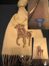 POLO RALPH LAUREN BIG PONY VIRGIN WOOL ITALIAN MADE SCARF NWT85 CAMEL/HEATHER
