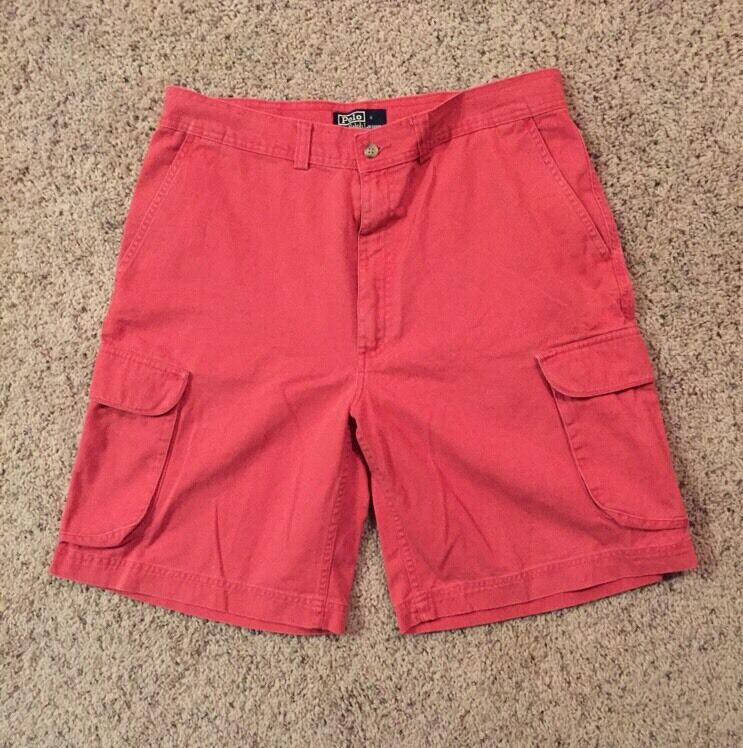 Ralph Lauren Polo Jeans Company Mens Coral  Shorts,  Size 35 RCP