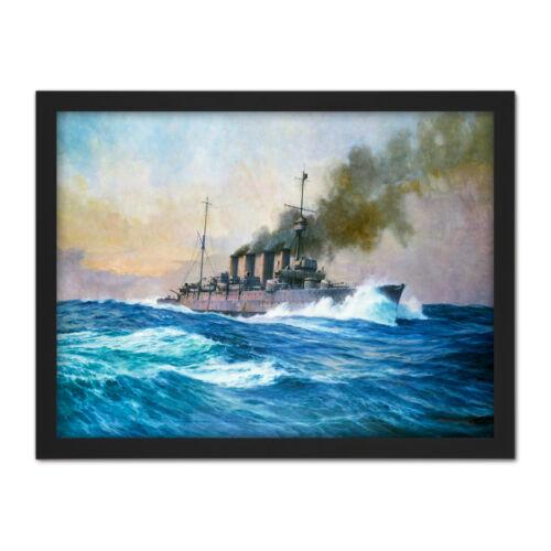 Parkes HMS Southampton batalla Jutlandia Guerra Barco Pintura gran impresión arte enmarcado