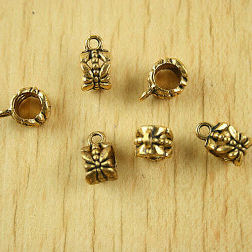 22pcs dark gold-tone crafted bail charm findings h1857