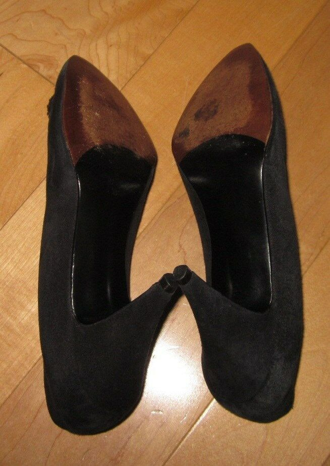 Stuart Weitzman Womens Black Suede Leather Heels 6 B B B  SHARP MUST C 5d03a5