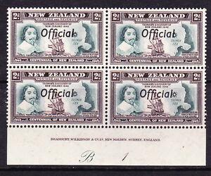 NEW ZEALAND 1940 2d CENTENNIAL OFFICIAL PLATE BLK 4 #B1 MNH