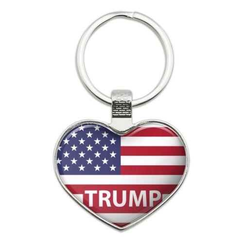 President Trump American Flag Heart Love Metal Keychain Key Chain Ring