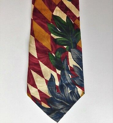 """River Island floral tie with swirling check pattern Bright bold Extra long 61"""""""