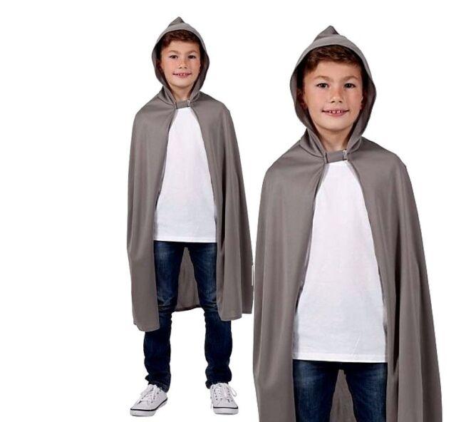 Brown Black Hooded Cape Boys Girls Kids Fairy Tale Fancy Dress Costume Accessory