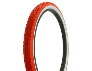 Duro-Heavy-Duty-Red-White-Wall-Bicycle-Tire-26-034-x-2-125-034-Diamond-Drizzle-Style