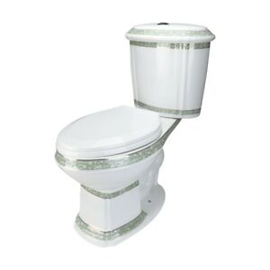Elongated-Two-Piece-Dual-Flush-Bathroom-Toilet-with-No-Slam-Seat-Green-and-White