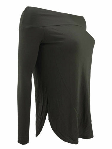 New Womens Ladies Off Shoulder Long Sleeves Curve Hem Bardot Top Blouse