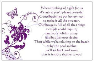 50 Wedding Poem Cards Asking Money For Honeymoon