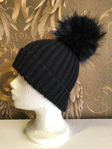 lana Bommel con in Cappello Xl con Beanie berretto lana Raccoon Black Fur Real di qTXE1wvE