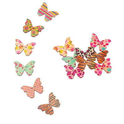 50 Mixte Boutons en Bois Papillon 2 Trous Couture Scrapbooking 28x21mm