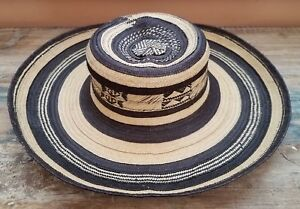 Vintage Woven Sombrero Vueltiao Natural Fiber Straw Hat