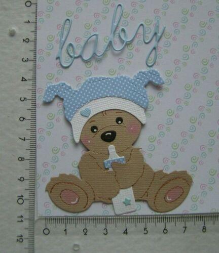 Teddy Bär mit Fläschchen Junge Kartenschmuck Sticker Baby Geburt  b71
