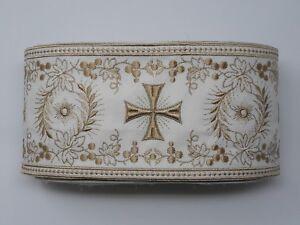 Orphrey-Vintage-Croce-Beige-amp-Spento-Bianco-Bendaggio-11-4cm-Larghezza-12-8m