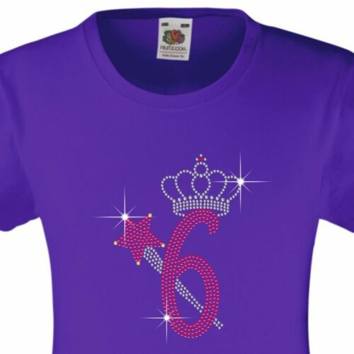 """Girl/'s Birthday TShirt /""""6 with crown /& wand/"""" Rhinestone Embellished-Many Colours"""