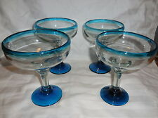 BAR Set of 4 Hand Blown Margarita,Cocktail Glasses Blue rim & base NEW Mancave