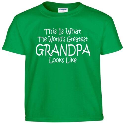 Worlds Greatest GRANDPA Fathers Day Papa Birthday Christmas Gift Tee T Shirt