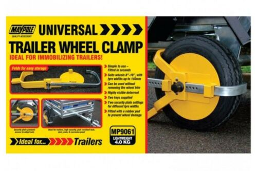 MAYPOLE Universal Trailer Wheel Clamp Yellow SECURITY