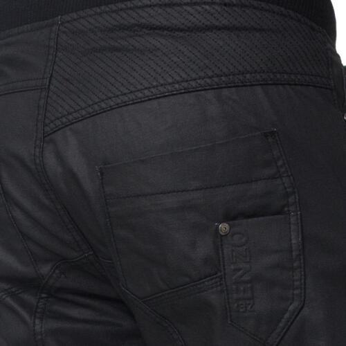 ENZO Da Uomo Designer Jeans Con Risvolto Jogger Pantaloni in Denim Elasticizzato Tutte Le Taglie Vita