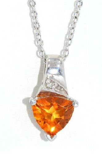 1.5 Carat Citrine /& Diamond Trillion Pendant .925 Sterling Silver