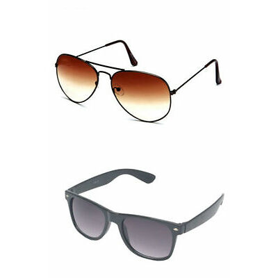 Combo of Brown Aviator Sunglasses and Black Wayfarer (Pack of 2) Free Shipping