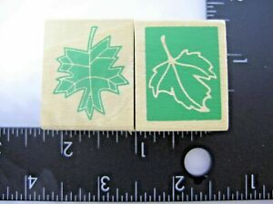 Rubber-Stamp-Maple-Leaves-Reverse-Image-Set-of-2-Stamps-Fall-Harvest-Wood-Mount