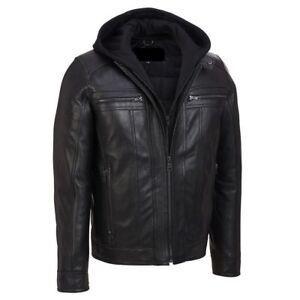 e02d4de2870 Details about Men's Biker Motorcycle Slim Fit Hooded Leather Jacket- 100%  Money Back Guarantee