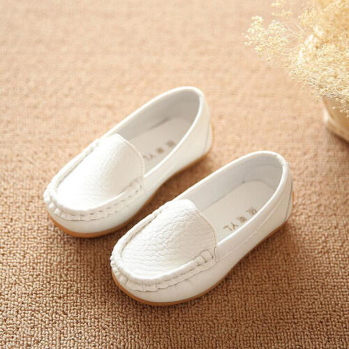 White Kids Baby Toddler Girls Boys Loafers Soft Leather Flat Slip-on Crib Shoes