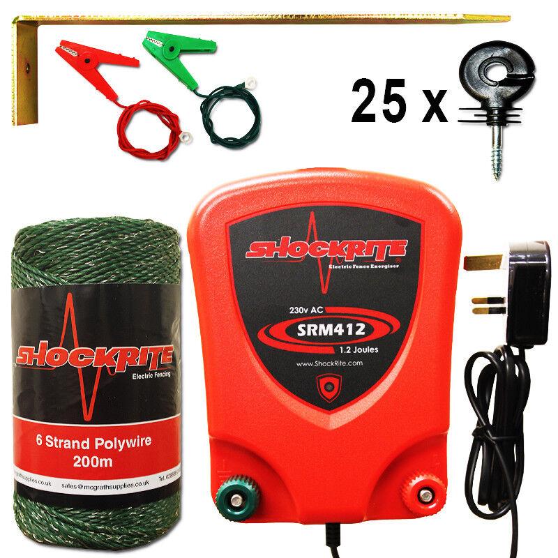 Cerca eléctrica rojo dinamizador ShockRite SRM412 1.2J 200m verde POLYWIRE 25 Anillo