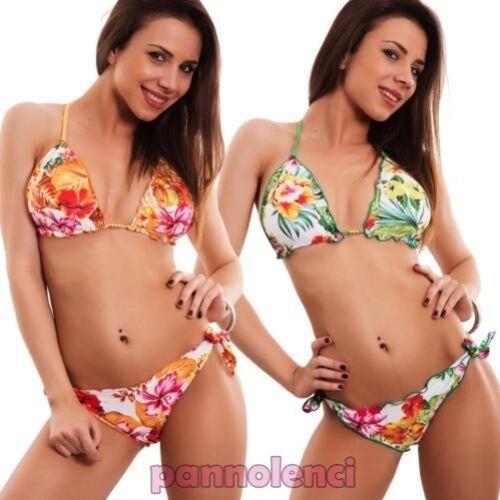 Bikini Frau Badeanzug Brasilianisch Dreieck Blumen Zwei Teile Neu SE88003