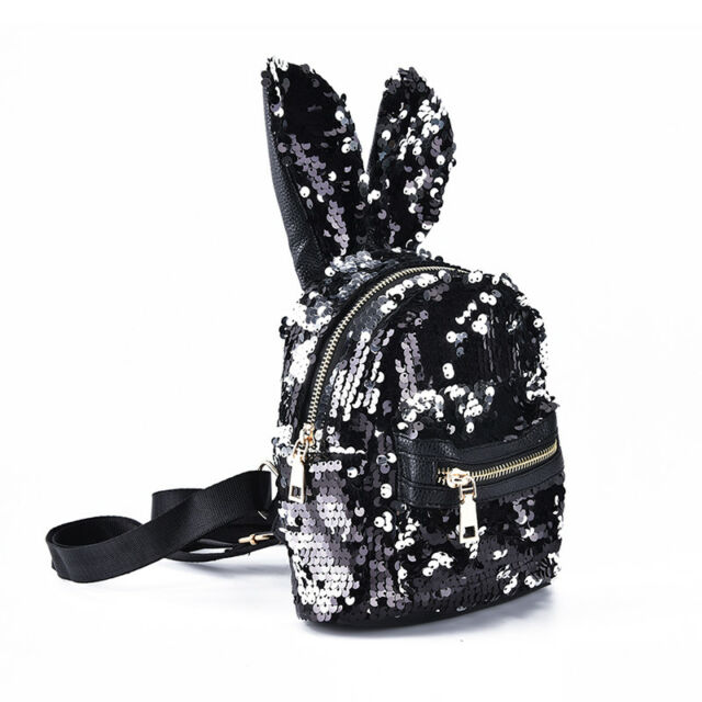 e3947543fb0d Shinning Bling Sequins Cute Big Rabbit Ears Backpack Girls Women Mini  Travel Jx Black Anti-silver