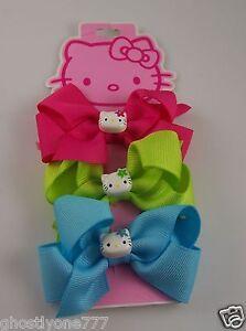 Hello-Kitty-Sanrio-barrettes-hot-pink-green-blue-hair-accessory