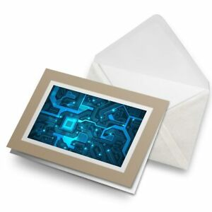 Greetings-Card-Biege-Blue-Computer-Chip-Electronic-s-Gamer-16935