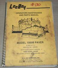 Lee Boy 1000 B Tilt Hopper Paver Operation Parts Maintenance Shop Repair Manual