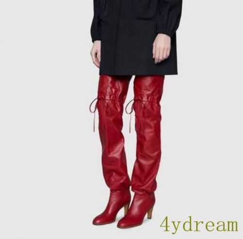 Knee High Thigh boots BACK Lace Ups High Heel Pu Leather Party Women Boots Red