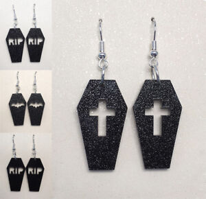 Coffin-Earrings-Laser-Cut-Black-Glitter-Gothic-Halloween-Spooky-Jewellery