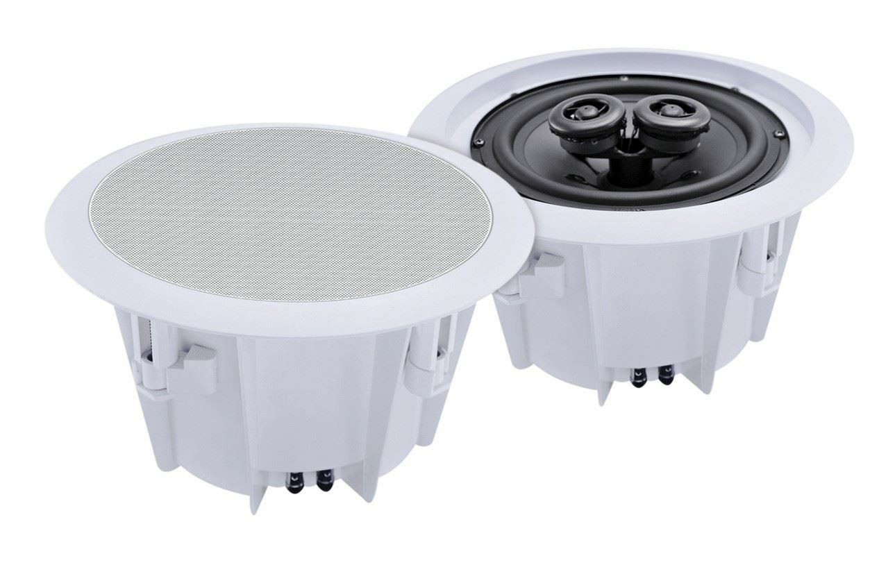 E-Audio Round Ceiling Speakers With Twin Offset Tweeters EV-B412B