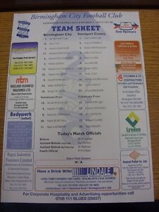 17102000 Colour Teamsheet Birmingham City v Stockport County folded Truste - Birmingham, United Kingdom - Returns accepted within 30 days after the item is delivered, if goods not as described. Buyer assumes responibilty for return proof of postage and costs. Most purchases from business sellers are protected by the Consumer Contr - Birmingham, United Kingdom