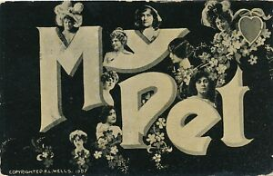 My-Pet-Many-Faces-Flowers-and-Heart-Greeting-Postcard-udb-pre-1908