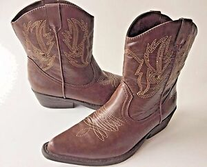 SO-Solyla-Western-Mid-Calf-Boots-Kohl-039-s-Brown-Embroidery-Pointy-Women-039-s-7-5