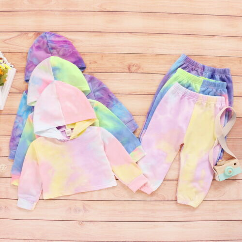 ❤️ Kids Baby Girls Tie Dye Hooded Tops Pants Tracksuit Outfits Clothes Sets 1-6Y