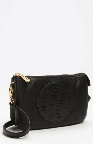 Tory Burch Kipp Black Small Crossbody Leather Handbag Medium Belt Bag Gold New