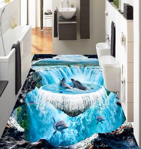 3D Papel de Parojo de suelo Rapids Delfín 9767 Murales Parojo impresión AJ Wallpaper Reino Unido Limón