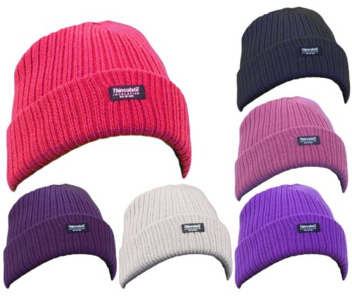 Ladies Thinsulate Beanie Hat Girls Ribbed Chunky Knit Fleece Lined Thermal Ski
